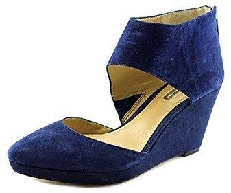BCBGMAXAZRIA Bcbgeneration Millbrook Women Open Toe Suede Blue Wedge Heel.