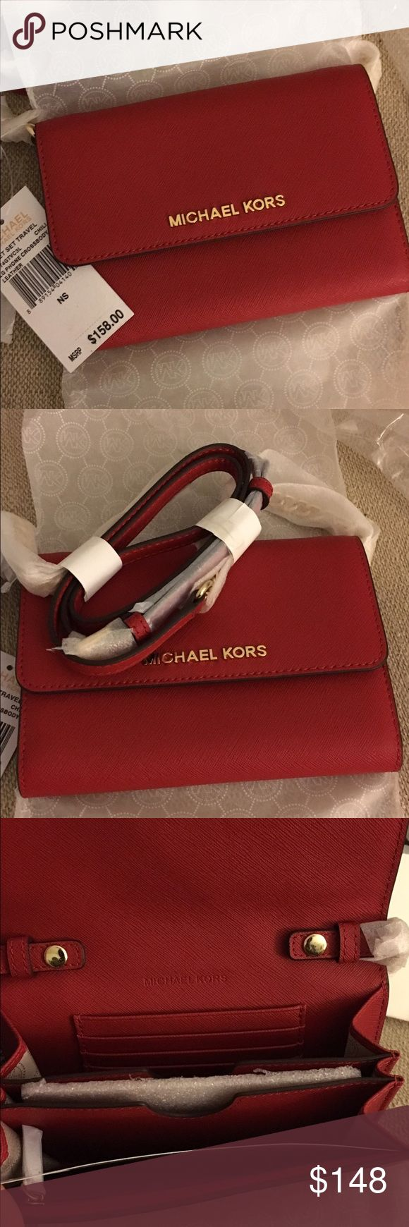 Michael Kors Large Phone Crossbody Brand new Michael Kors Large Phone Crossbody in a beautiful red Cale's Chili. The Crossbody has a slot for iPhone/smartphone, 5 card holder slots, and 1 zipper pocket located inside. There's also an outside slip pocket. MICHAEL Michael Kors Bags Crossbody Bags