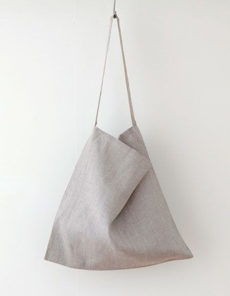 white nest / fog linen - 'across the chest' tote