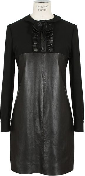 SAINT LAURENT Leather Lamb Dress - Lyst