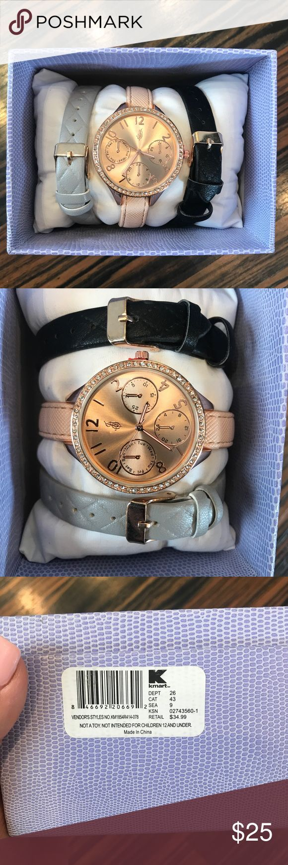 Jaclyn Smith Watch set NWT Rose gold watch paired with added accessories :) Reg $34.99, perfect condition and a perfect gift! Accessories Watches