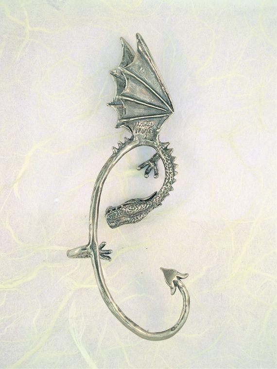 Dragon Ear Wrap Dragon Ear Cuff Silver Elfin Dragon Ear Wrap Dragon Jewelry Game…