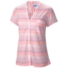 Columbia Sportswear Sun Drifter Shirt - Short Sleeve (For Women) in Coral Flame Stripe - Closeouts