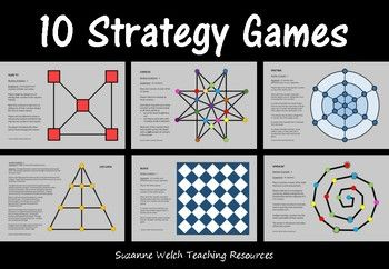 This is a set of 10 board games that work on STRATEGY rather than CHANCE.  The only equipment you need is counters/markers.Provided in both colour and black/white.Easy-to-follow instructions are written on the game boards.All games are for 2 players.These games develop skills such as:  strategic thinking  logical thinking  spatial perception  planning ahead  social interaction  (not played on a screen!)Games:   Spiralin  Slide it!