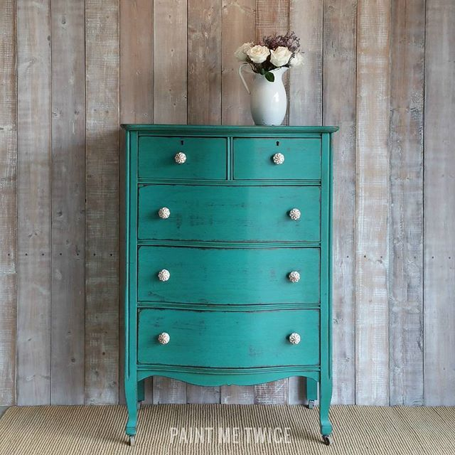 Charming dresser painted in the most beautiful color Florence Chalk Paint® with a Clear and Dark Wax finish | Project by Paint Me Twice