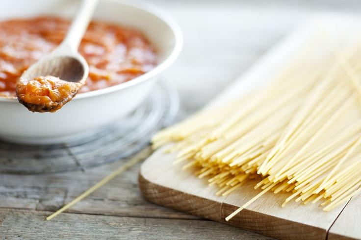 Spaghetti met geroosterde tomatensaus