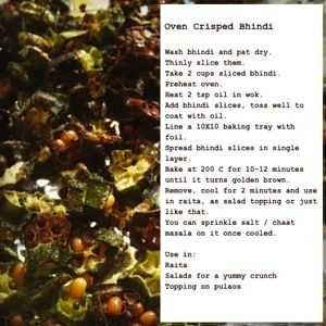 Oven Crisped Bhindi (okra)