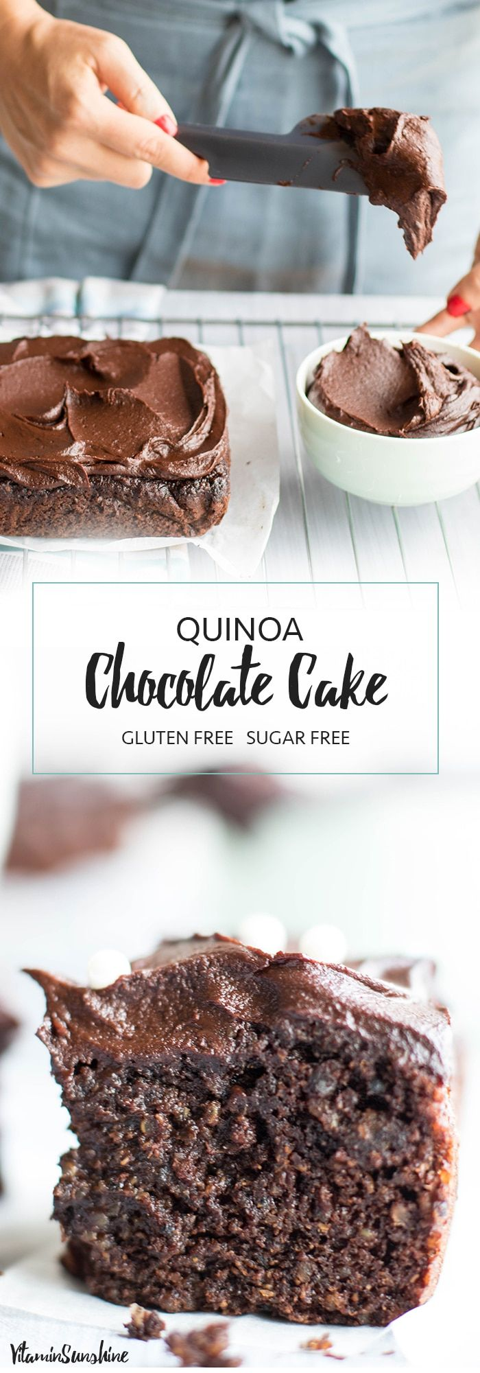 Chocolate Quinoa Cake / This healthy chocolate snack cake is made with quinoa and sweetened entirely with fruit! #glutenfree #quinoa #chocolatecake #cake #healthy #sugarfree