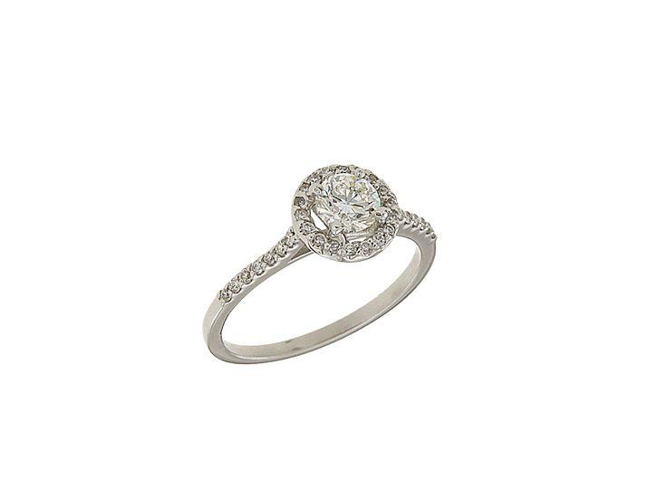 Δαχτυλίδι Μονόπετρο Hallow με διαμάντια κοπή μπριγιάν 33816