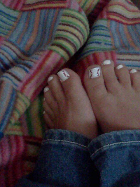 Baseball painted toenails! Cute for summer or baseball season.