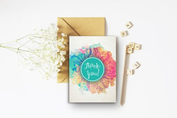 Thank You Bright Card - A6 Card - Colourful Cards - Floral Cards - Teal Print