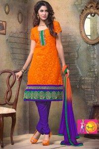 Ethnic Orange and Purple Color Salwar SUit