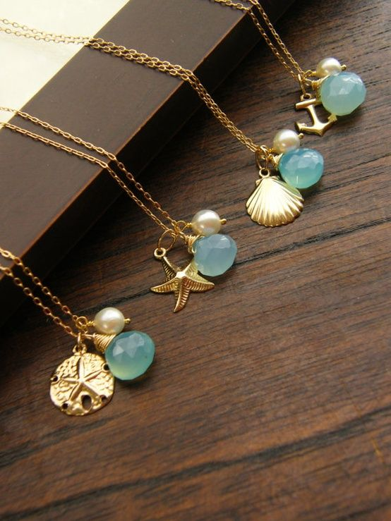 Nautical Gold Beach Wedding Jewelry, Keepsake Necklace, Blue Stone necklace…
