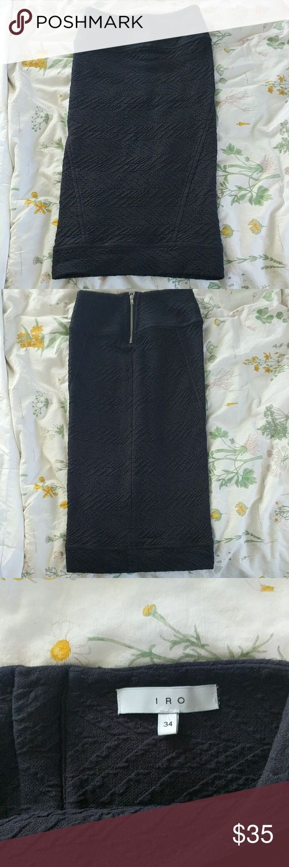 IRO pencil skirt Classy luxury brand IRO  Long black pencil skirt  Nice woven pattern  Euro size 34  US size 4 or Small Excellent condition IRO Skirts Pencil