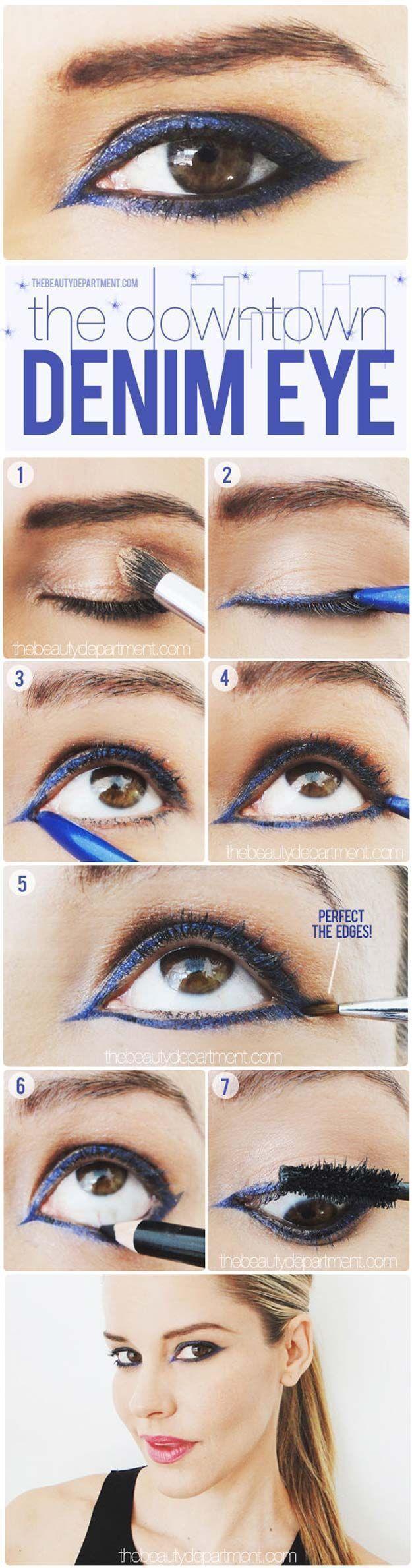 Best Eyeliner Tutorials - Indigo Girl - Simple And DIY Eyeliner Tutorials For Beginners. Includes Everyday Looks For Natural Eyes, Winged Eyeliner, Pencil, Felt, Liquid, and Gel Eyeliner Tips. Ideas For Small Eyes, Large Eyes, Blue Eyes, Brown Eyes, Hazel Eyes, and Green Eyes - http://thegoddess.com/best-eyeliner-tutorials #smallwingedliner