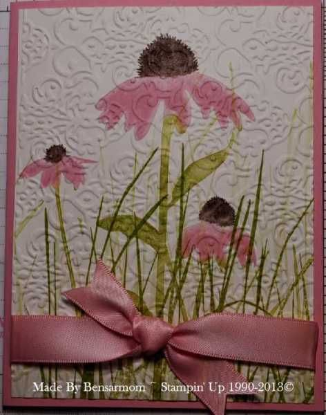 Here's one of my favorite retired SU stamp sets, Inspired by Nature.  Here's a way I made it look a bit more elegant for Mother's Day.  I ran it through with the Lacy Brocade embossing folder after stamping.  I used pretty in pink ribbon also.