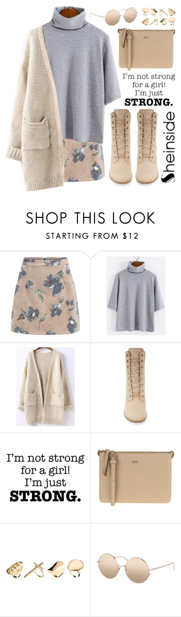 """""""SheIn 8"""" by scarlett-morwenna ❤ liked on Polyvore featuring Timberland, Parfois, New Look, Linda Farrow, modern and vintage"""