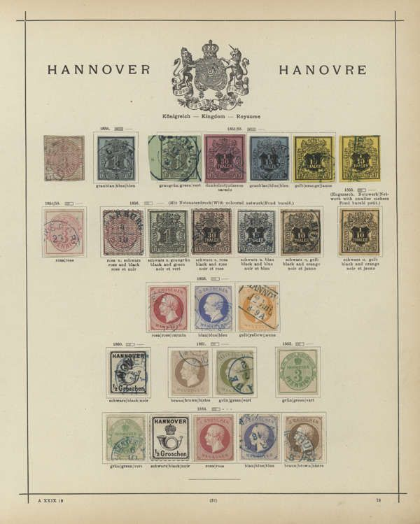 Old German States Hanover - 850 / 64, mostly cancelled collection from the Michel no. 1 with 26 values on Schaubek printed form, partly condition varies, as well better items alike Michel no. 6.8.17.18.20 till to the rouletted issue, nice opportunity! (M)  Lot condition    Dealer Gärtner Christoph Auktionshaus  Auction Starting Price: 500.00 EUR