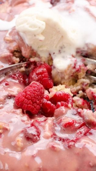 Hot Raspberry Cake with Vanilla Ice Cream (maybe with a chocolate ...