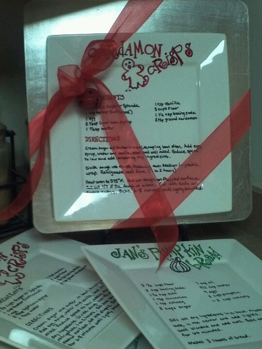 Recipes written on plates with Sharpie markers.  Baked at 350 degrees for 30 minutes & ink is permanent.