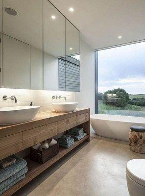 Mobile da bagno minimal design italiano legno massello di castagno