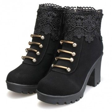 Artificial Leather Lace Bead Metal Ankle Zipper Platform Chunky Heel Boots