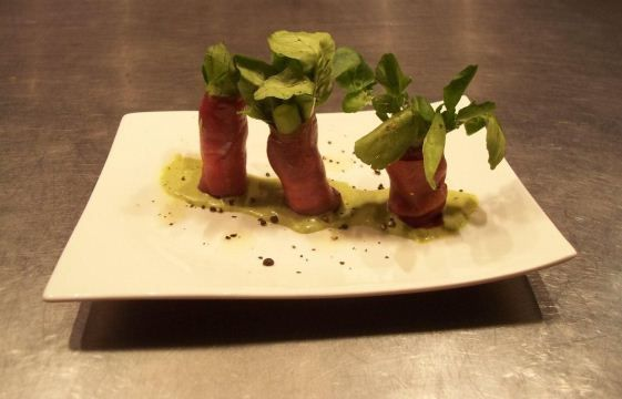 Asparagus and Watercress Wrapped in Springbok Carpaccio