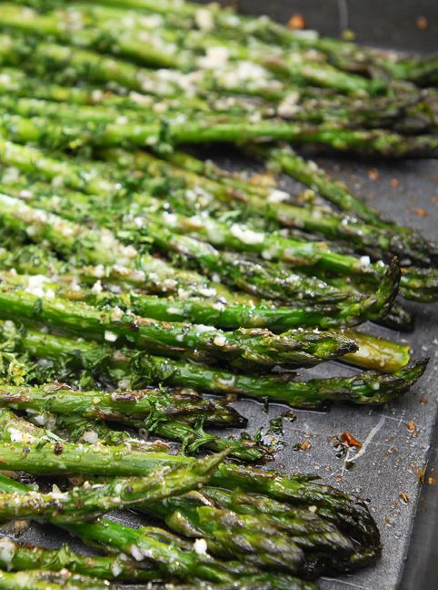 Roasted Asparagus. This is a great recipe. To vary it I sometimes add a little Balsamic Vinegar. Also instead of black pepper I like to use Weber's Kickin' Chicken spice which is a blend of peppers and spices. It really adds to the flavor profile. I like the skinny stalks because they are more tender and you don't have to peel them.