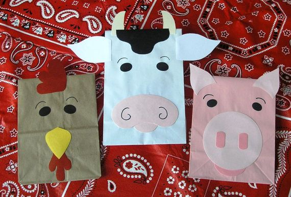 Craft bags. cow and rooster would be easy to make. farm theme.   dont act like you guys dont think this is cute:)