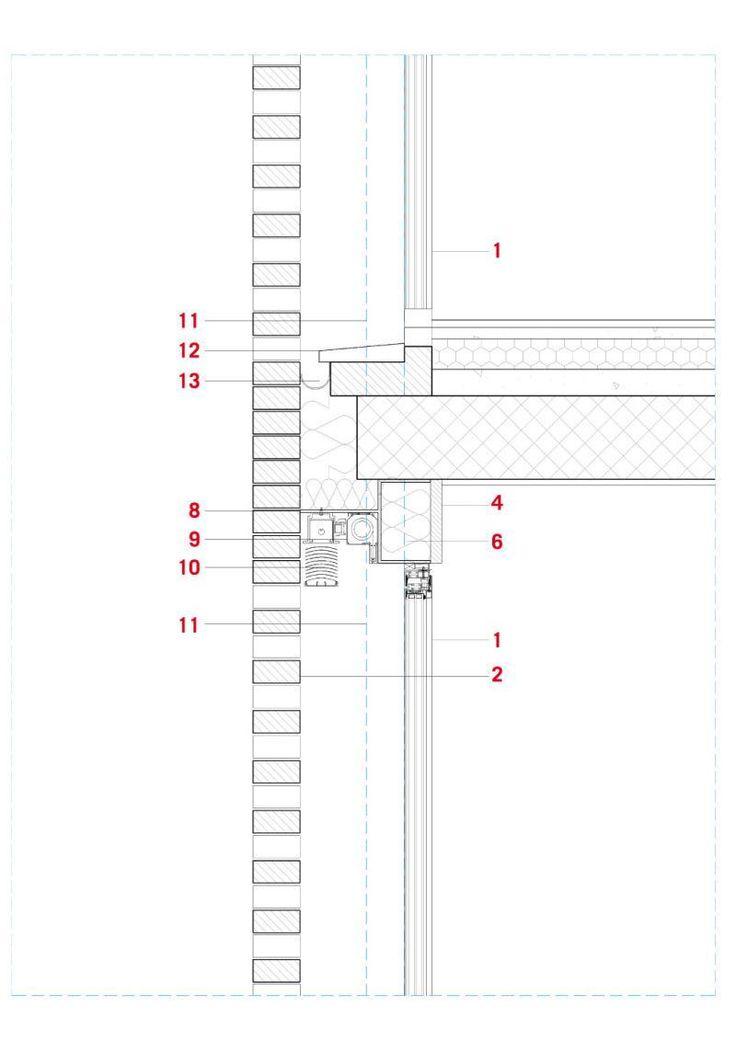 Facciata sud | Legenda: 1. parapetto in lamiera stirata 2. pavimento in pietra 3. massetto di pendenza 4. impermeabilizzazione 5. taglio termico 6. profilo metallico 7. zanzariera 8. lama metallica 9. grigliato in mattoni faccia a vista di laterizio 10. profilo metallico a L 11. filo pilastro in acciaio 12. rivestimento in cartongesso 13. serramento in acciaio a taglio termico.