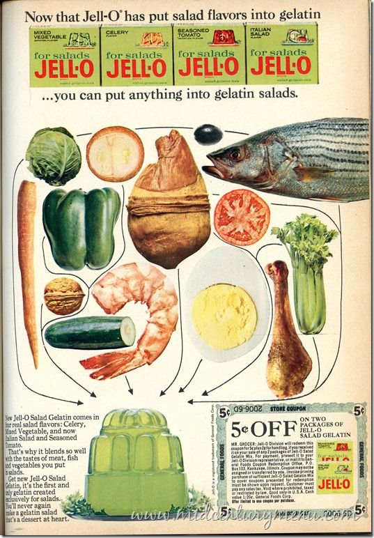 Now that Jell-O Has Put Salad Flavors in Gelatin...you can put anything into gelatin salads. 1965: Flavored Jello, Gelatin Salads, Food Ads, Fish, Retro Food, Jello Ad, Salad Flavored, Vintage Ads