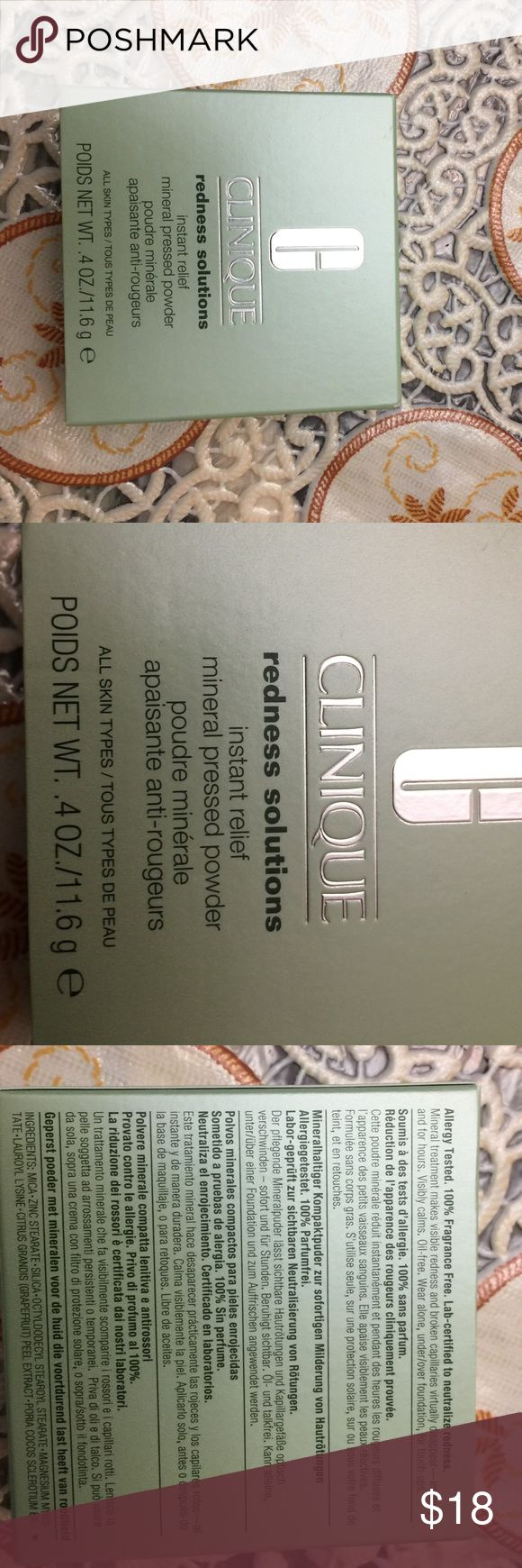 CLINIQUE redness solutions mineral pressed powder CLINIQUE redness solutions instant relief mineral pressed powder. New in box. All skin types. Net WT .4 oz/11.6 g. Allergy tested. 100% fragrance free. Lab certified to neutralize redness. Clinique Makeup Face Powder