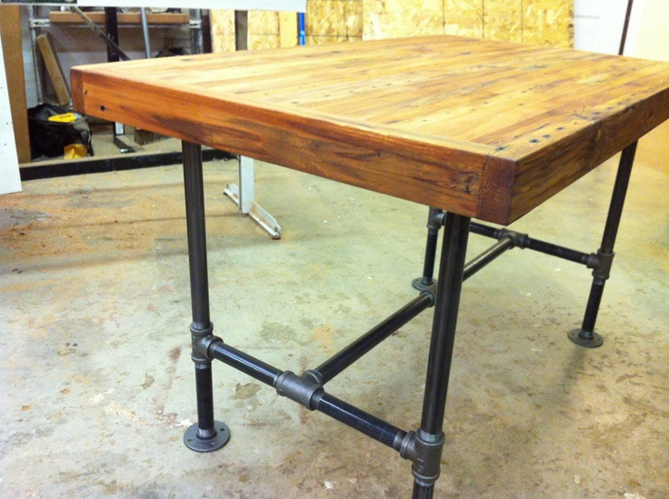 Reclaimed industrial kitchen island dining table featuring antique barnwood butcher block and - Kitchen table bases ...