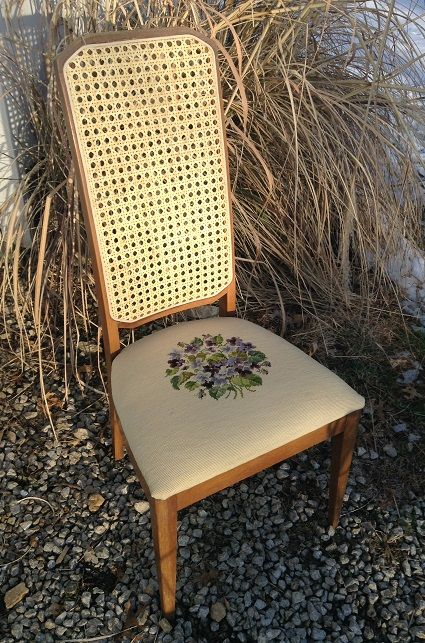 Most Mid Century Modern cane styles are still available. This sleek dining chair features a family heirloom needlepoint seat. Jan 2016.