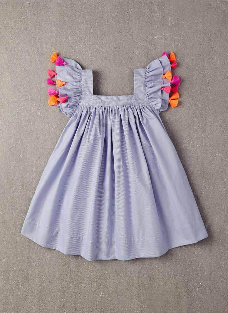 100% viscose A-line dress with pom poms on sleeves in Blue Pin Stripe. * PRE-ORDER.The estimated shipping date for this item is:04/7/2016. This item is availa