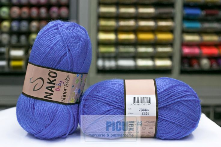 Fir de tricotat sau crosetat - Fire tip mohair din acril Nako SUPER BEBE ALBASTRU 1256