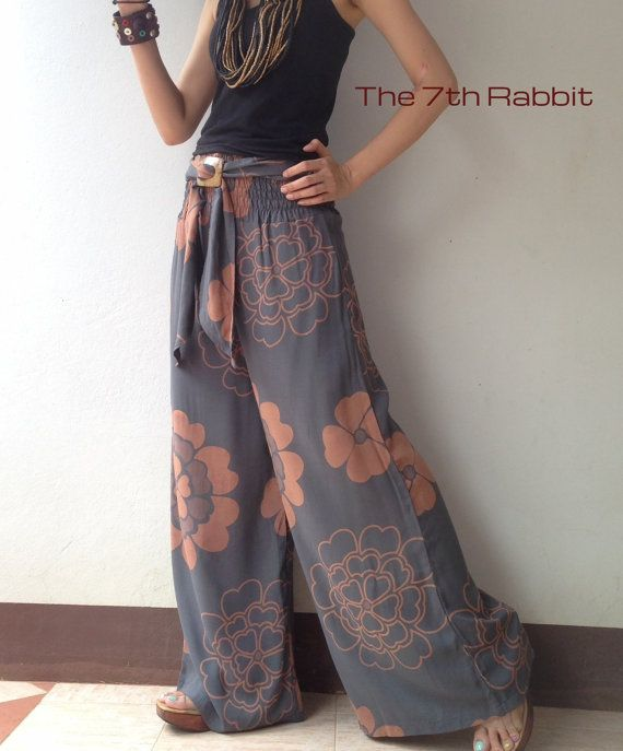 Breezy.. Grey Floral Printed wide leg pant 2 by the7thrabbit, $38.00