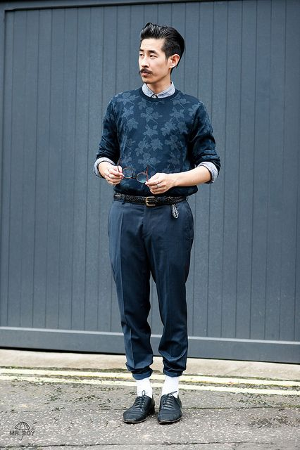 Mr Boy Style Blogger Blog Personal Menswear Fashion Hong Kong London Chinese Asian Moustache Blue Topman Uniqlo HM Trousers Shirt Jumper by Mr_Boy, via Flickr