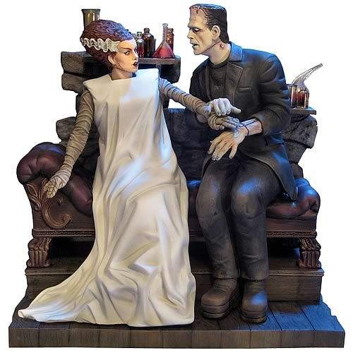 "From Mobius Models - ""The Bride of Frankenstein"" Bride and Monster Model Kit. A beautiful kit, a little over 10"" tall after assembly. 90 pieces, skill level 3."