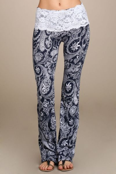 Navy & White Lace Yoga Pants