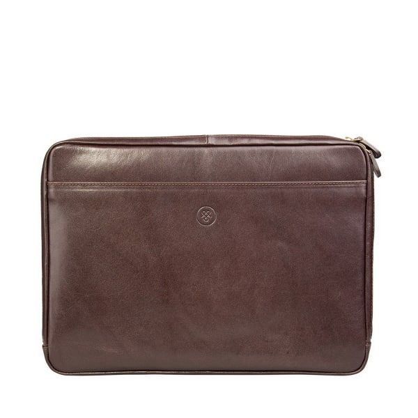 Luxury Brown Laptop Case 14 Inch The Bovino  | Maxwell Scott Bags | Wolf & Badger / Men / Accessories / Travel