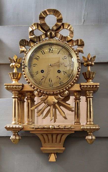 Antique Swiss Gilded Wall Clock | Antique Clocks | Inessa Stewart's Antiques