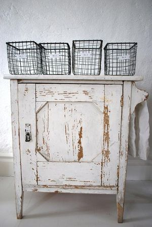 Over-The-Top-FaB WHITE CABINET!!!  and LoVe the Crude WIRE BASKETS as well...