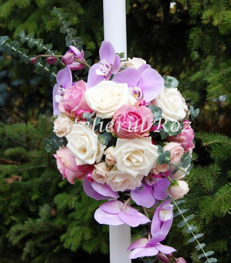 Pink, white and purple floral arrangement