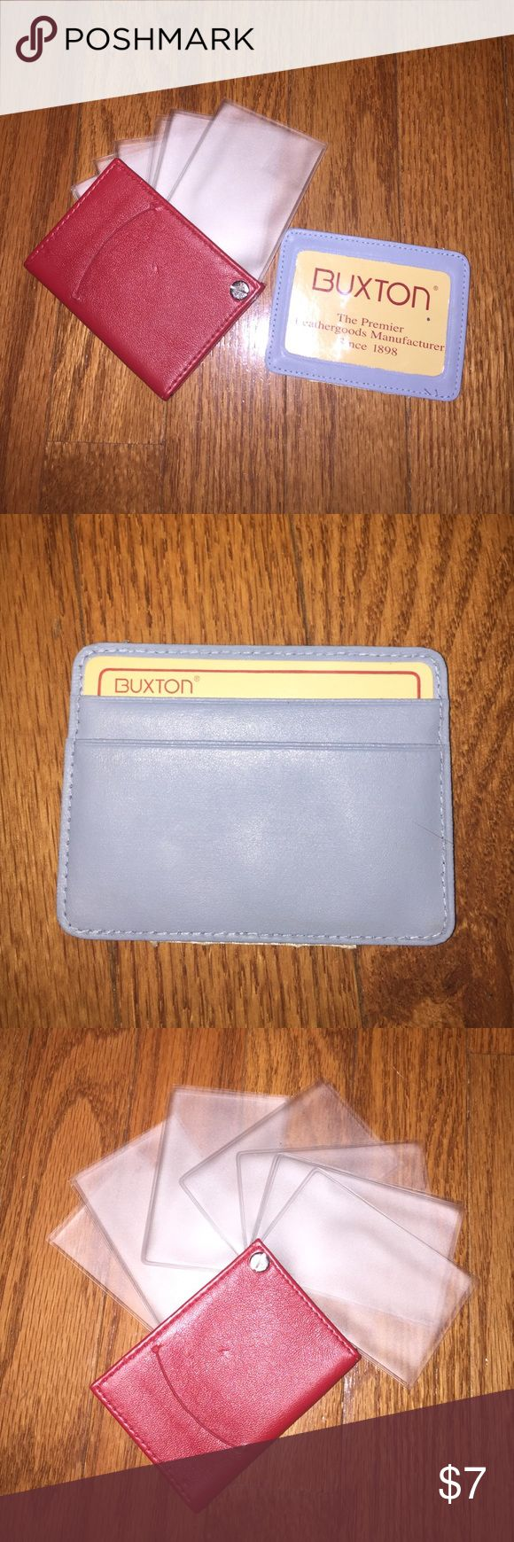 """2 Buxton Leather Credit Card/ID Holders 🔹Red Buxton credit card or photo carrier measures 2 3/4"""" x 4"""". Features 10 slide out clear holders for pictures or credit cards. 🔹Blue Buxton credit card and ID carrier features 2 slots in the back for credit cards and one clear slot in the front for ID or photo. Measures 3 3/4"""" x 2 3/4"""". Both new, never used. Please feel free to make an offer!! 💞 Buxton Bags Wallets"""
