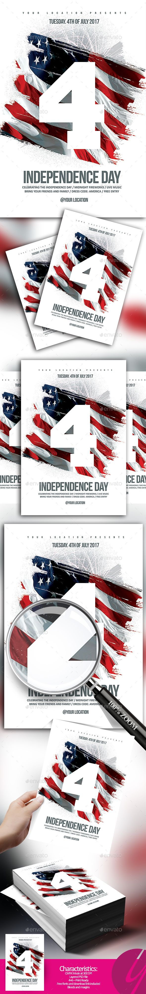 4th of July / Independence Day #Flyer - Holidays #Events Download here: https://graphicriver.net/item/4th-of-july-independence-day-flyer/20169907?ref=alena994