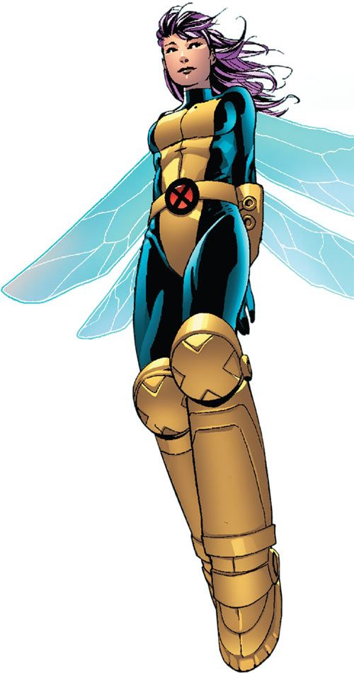 Pixie of the X-Men (Marvel Comics) hovering blue wings big boots. From http://www.writeups.org/pixie-x-men-marvel-comics/