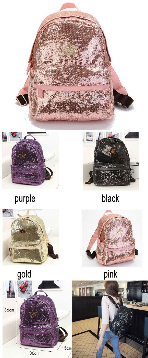 so cool Shine Crown Girl School Rucksack Sequin Student Backpack ! #backpack #school #rucksack #sequin #student #girl #college