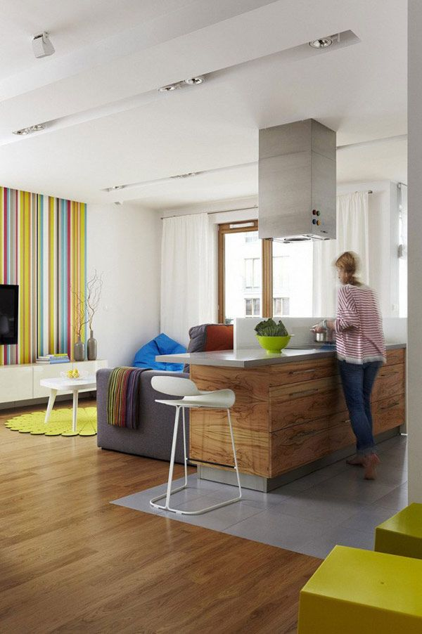 Wood kitchen island 40 Daring Striped Interiors Helping You Energize Your Home in 2013 colour combination