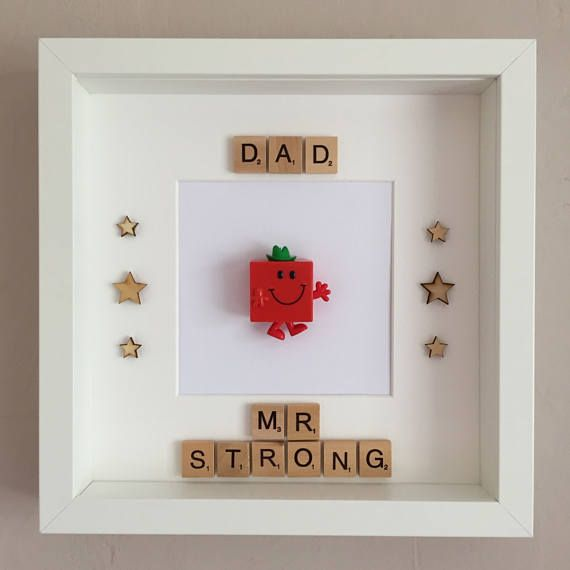 Handmade Scrabble Art Dad/Daddy Mr Men Mr Strong Frame